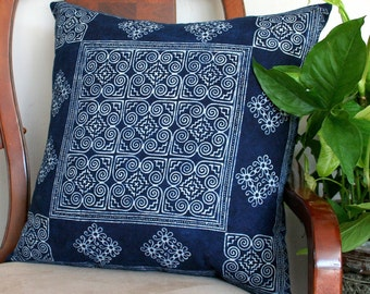 Indigo Batik Hmong Pillow In Naturally Dyed Cotton, Cushion Cover, 20 inch Floor Pillow, ** Free worldwide shipping **