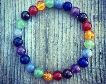 Chakra after chakra energy healing yoga meditation mala bracelet for women or men unisex