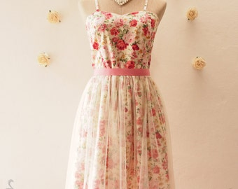 FAIRY ROMANCE - Tutu Dress, Floral Dress, Floral Bridesmaid Dress, Summer Romantic Dress, Fantasy Party Dress, Rustic Wedding- xs-xl, custom