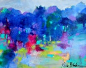 "Colorful Abstract Landscape, Abstract Trees, Small Canvas, Original Acrylic Painting ""Into the Trees"" 11x14"""
