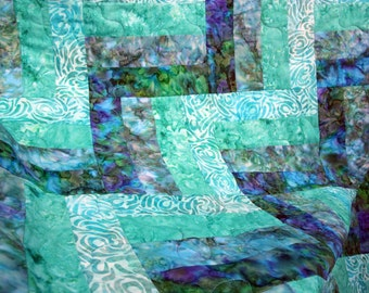 Batik Patchwork Quilt, Tranquility  by PingWynny Made To Order
