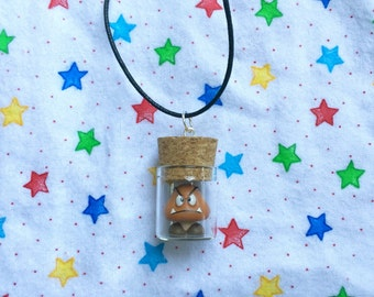 READY TO SHIP, Goomba in a Bottle Necklace