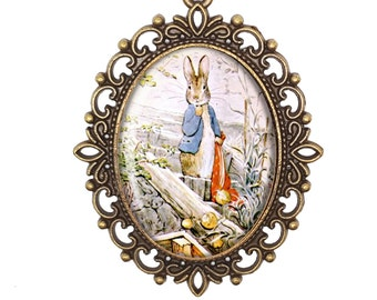 Beatrix Potter 'Peter Rabbit Stealing Onions'  Vintage Inspired Bronze Silver Large Cameo Necklace Jewellery