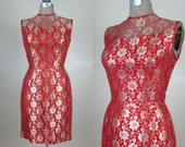 RESERVED // Vintage 1950s Red Lace Dress Metallic Lace 50s Cocktail Dress Size 6M