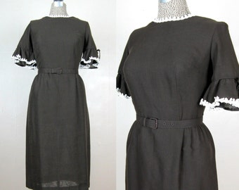 Vintage Early 1960s Dress 60s Brown Cotton Dress with Ruffle Sleeves by Forever Young Size 8/M