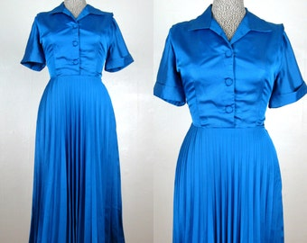 Vintage 50s 1950s Cerulean Blue Pleated Shirtwaist Dress New with Tags Size 10 L 31 Waist