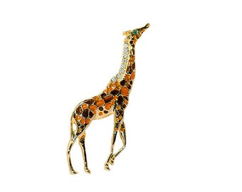 Poured Glass Giraffe Brooch, Rhinestone Mane, Gold Metal, 1980s Jewelry