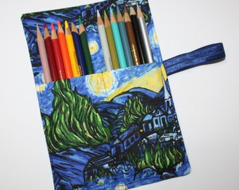 Pencil Roll plus BONUS 10 Markers, Starry Night fabric holds Colored Pencils, Markers, Sharpies, Twistables, Pencil Case Organizer, Rollup