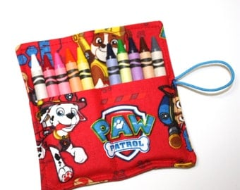 Paw Patrol READY TO SHIP Birthday Party Crayon Rolls Party Favors, made from Paw Patrol fabric, Paw Patrol Birthday Party Favors