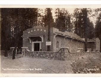 The Museum, Lassen National Park, 1940s California RPPC, Real Photo Postcard, Loomis Photo Postcard Number 121, Souvenir Postcard