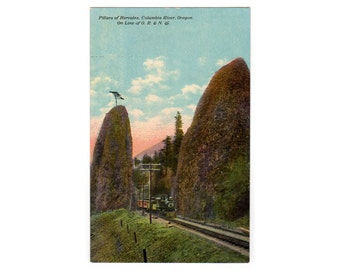 Pillars of Hercules, Columbia River Oregon, Vintage O R and N Train, 1910s Railroad Postcard, Barkalow Brothers, A 8461, Unused Souvenir PC