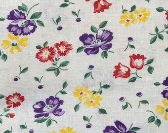 Vintage 1940s Floral Flour Sack Material 43 x 38, Cotton Feed Sack Fabric, Purple, Red, Yellow and Green Flowers on Off White Background