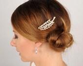 Art Deco Wedding Comb, Gold Rhinestone Feather Hair Piece, Wedding Hair Clip, Bridal Leaf Head Piece, Vintage Bridal Headpiece, Leaf Comb