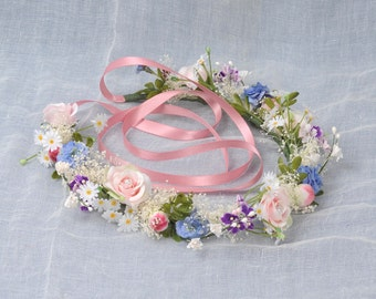 Flower Circlet, Spring Floral Headpiece, Flower Crown, Wedding Hair Piece, Whimsical Woodland Bridal Headband, Garden Wedding Head Wreath