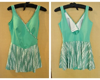 Vintage 1970's does 50's 1950's Peppermint Green Volumpt Swimsuit swimming costume with Skirt 42 inch Bust XL Plus Size