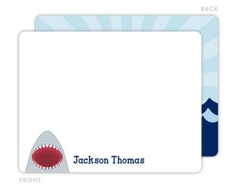 Shark Note Cards - Personalized Note Cards for Kids - Children Stationery - Kids Thank You Cards - Shark Notecards - Shark Stationery