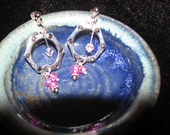 Pink and a little steampunk earrings