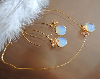 Blue moon stone set .Dangle earrings and necklace .