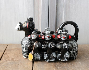 Mid Century Poodles Kitchen Display Red Ware Pottery Poodle Spice Rack Ceramic Decanter