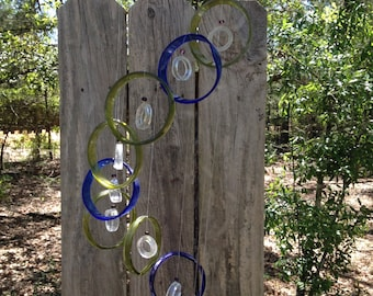 GLASS WINDCHIMES from RECYCLED bottles, eco friendly, mix colors, garden decor, wind chimes, mobiles, musical, windchimes