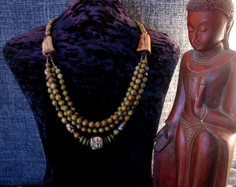 Buddha Necklace, Dzi Bead, Green Turquoise Necklace, Buddhist, Ethnic Jewelry, Nepal, Tibet, Ancient Jewelry, Chunky Bead Necklace