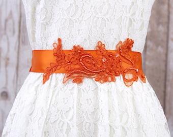 Orange Beaded Lace Sash, Bridal Wedding Sash, Bridesmaid Sash, Flower Girl Sash,Orange Belt , SH-40