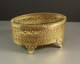 Stylebuilt Oval Ormolu Beveled Glass Jewelry Casket Trinket Dresser Box