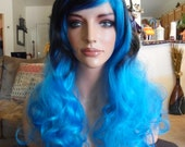 SPRING SALE - Ombre Black & Royal Blue Wig - Long Curly - Long Bangs - Durable - Emo - Rockabilly - Cosplay - Daily Wear - Comfortable