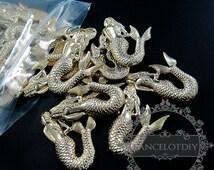 Assortment 45pcs 25x37mm matte gold plated mermaid DIY pendant charm supplies findings 172
