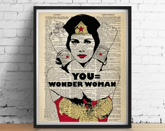 YOU Equals Wonder Woman Art Print Poster, Superhero Art, Inspirational Wall Art, Womens Gifts, Dorm Decor, Vintage Dictionary Art GICLEE