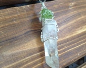 Natural Quartz Crystal Point Pendant with Raw Peridot Healing Crystals Reiki Yoga