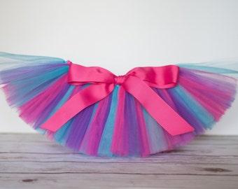 """Pink, turquoise blue & purple """"Cort"""" tutu kids tutu sizes 2 3 4 photo prop flower girl birthday tutu 2T 3T 4T toddler tutu skirt teal gift"""