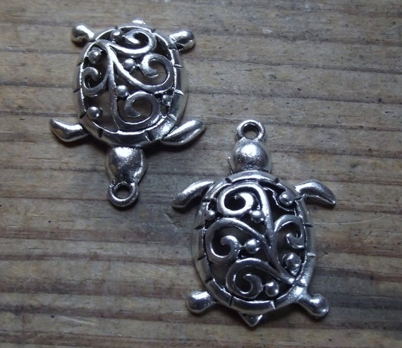 2 silver tone metal turtle charms filigree jewelry for Metal art craft supplies