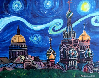 Starry Night in Saint Petersburg Russia with Golden Couples