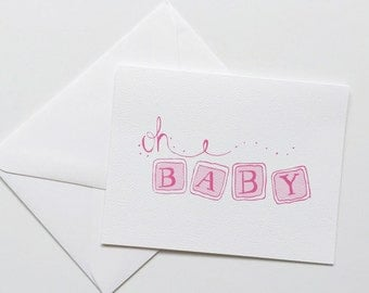 Oh Baby Card-Baby Congratulations Card-Baby Shower Card