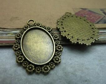 10pcs 25x18mm antique bronze cabochon pendant settings C7480
