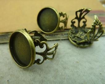 5pcs 16mm pad antique bronze ring base cabochon settings C3639