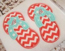 SALE 40% off applique embroidery flip flop design, applique flip flops, embroidery flip flop, machine applique  monogram flip flops