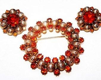 Weiss Wreath Brooch Earring Set Clip Ons Orange Rhinestones Gold Metal Beads Vintage