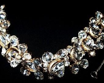 """Kramer NY Rhinestone Bracelet Signed Gold Metal Security Chain High End 7 3/8"""" Vintage"""