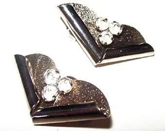 "Art Deco Clip On Earrings Clear Ice Rhinestones Chevron Silver Metal 1.5"" Vintage"