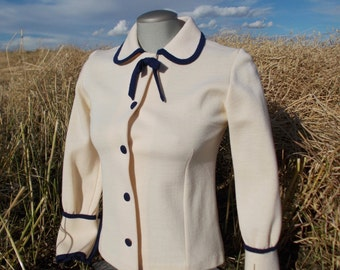 vintage knit cream cardigan - 50s/60s