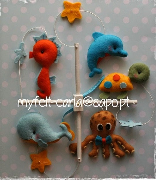 Sea animals mobile felt baby crib mobile baby by for Sea animal baby mobile