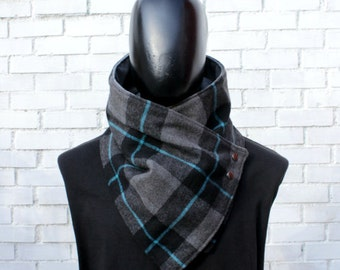 Mens cowl scarf. Unisex scarf. Unisex cowl,Wide, Plaid wool blend and metalic snaps . Chunky,cozy. Blanket scarf. Mens winter. Husband gift.