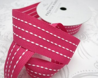Red Stitched Grosgrain Ribbon 7/8 -- 3 yards -- American Crafts -- Rouge -- 58360 -- 22mm