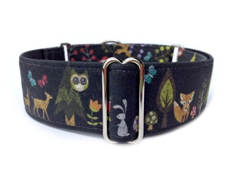 "Chalkboard Woodland Dog Collar - 1"" or 1.5"" Woodland Creatures Chalkboard Martingale Collar or Buckle Dog Collar"