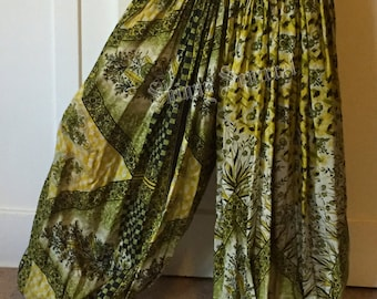 Upcycled silk sari harem pants for ATS tribal bellydance renaissance gypsy for belly dance harem pants bloomers pantaloons