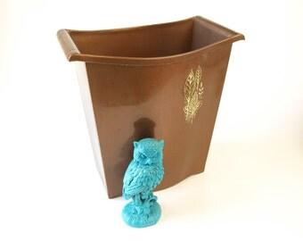 Vintage 70s brown plastic waste basket trash can retro home decor office waste bin