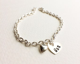 Heart Bracelet - Personalized Gift - Sterling Silver Heart and Initial Bracelet - Everyday Wear - Holiday Gift - Handcrafted by CoCo