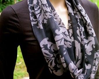 Black Silk Infinity Scarf, Neck scarf